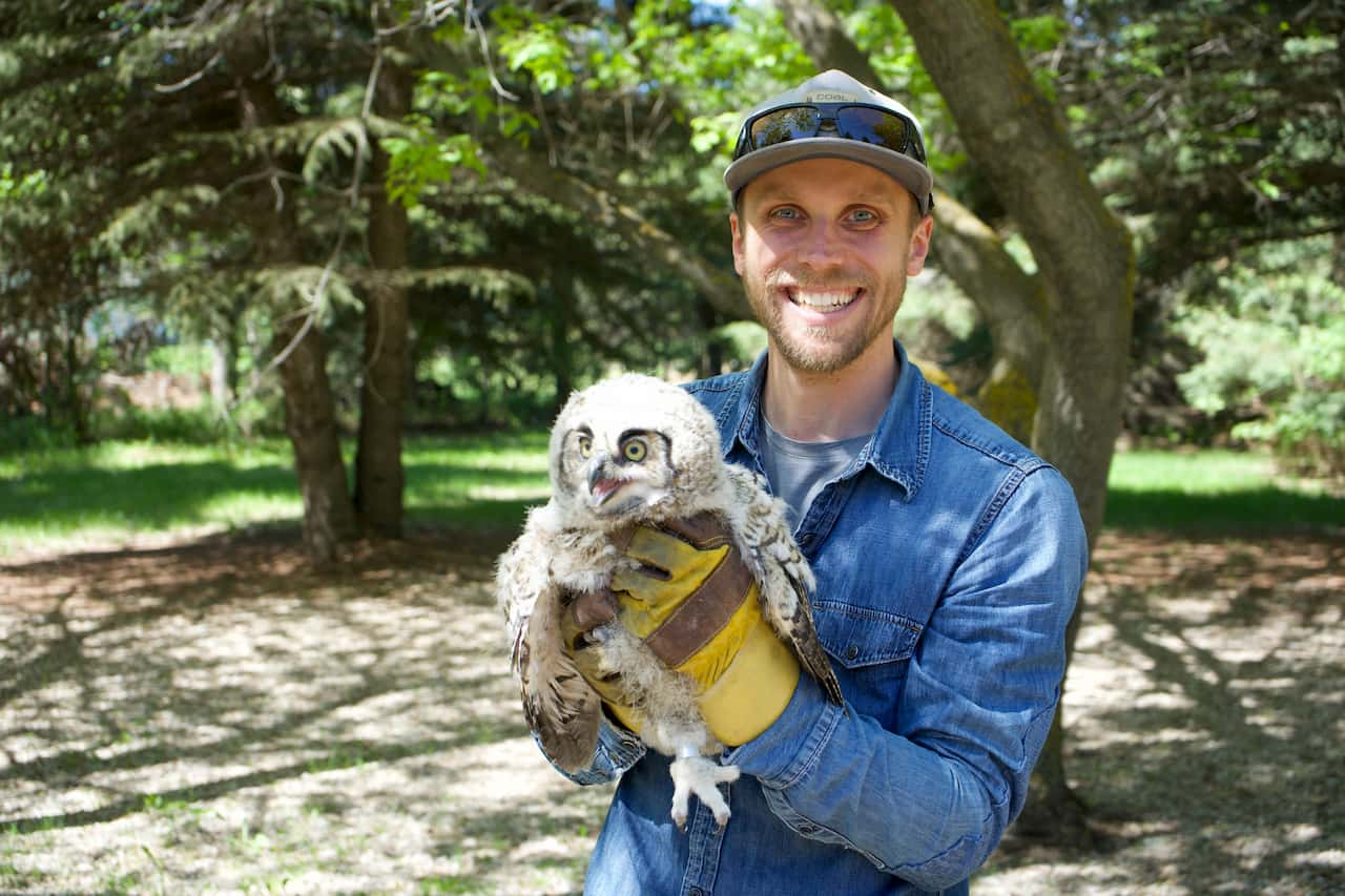 Andrew with Baby Owl